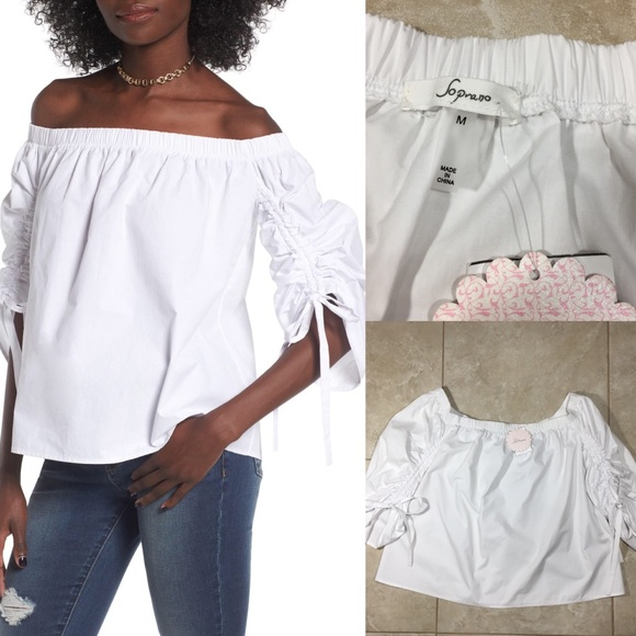 032a3136041 White Off The Shoulder Cinched Cotton Bow Shirt